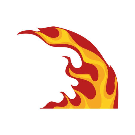 Flame fire hot curve icon. Isolated and flat illustration. Vector graphic