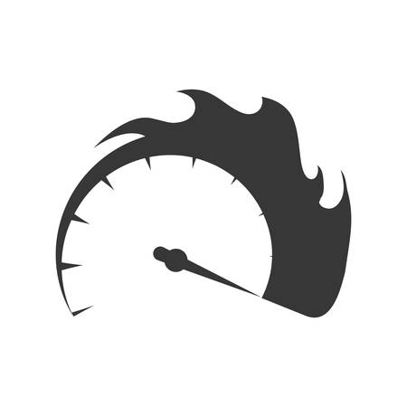 Gauge transportation kilometer speed icon. Isolated and flat illustration. Vector graphic
