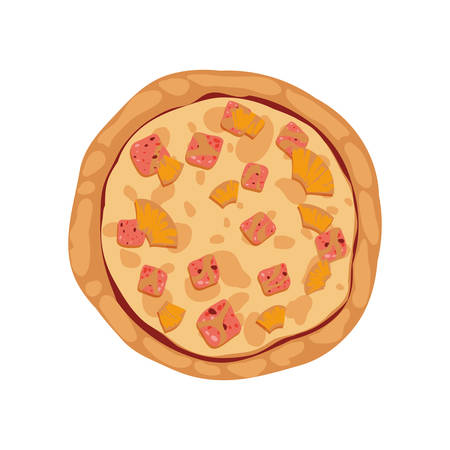 Pizza de la cena menú de comida rápida icono. ilustración y plana. gráfico vectorial