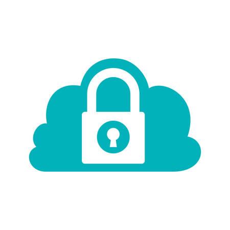 Cadenas nuage protection du système de sécurité icon. Isolé et plat illustration. Vecteur graphique
