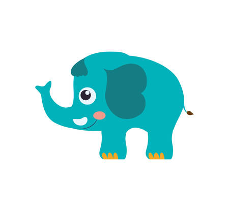 'wildlife reserve': Elephant cute animal little icon. Isolated and flat illustration. Vector graphic