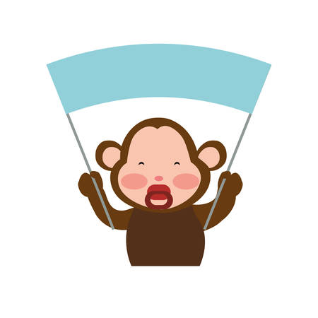 wildlife reserve: Monkey cute animal little icon. Isolated and flat illustration. Vector graphic Illustration
