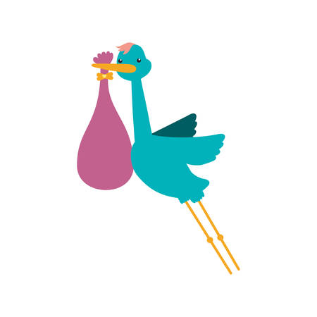 bah: Stork bag baby shower icon. Isolated and flat illustration. Vector graphic Illustration