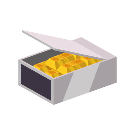strongbox: Gold bar block strongbox treasure icon. Isolated and flat illustration. Vector graphic