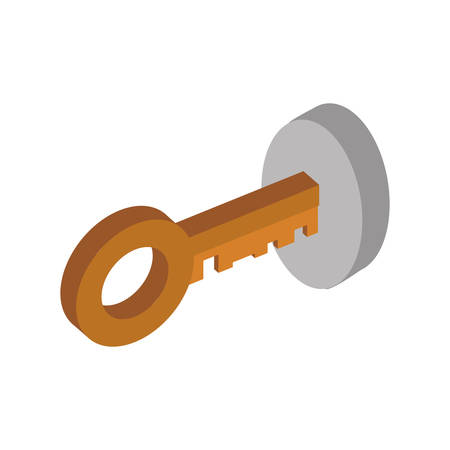 Key security system protection icon. Isolated and flat illustration. Vector graphic