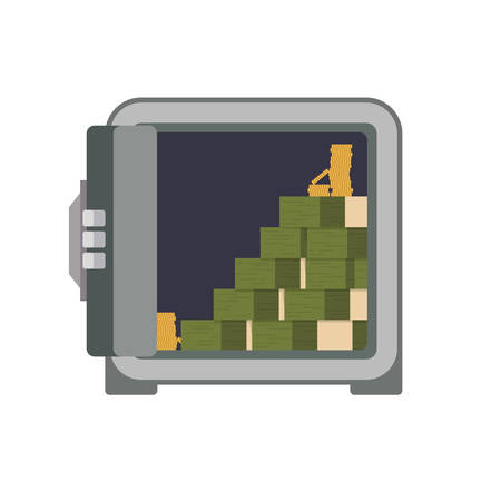 strongbox: Strongbox bills security money financial item value icon. Isolated and flat illustration. Vector graphic