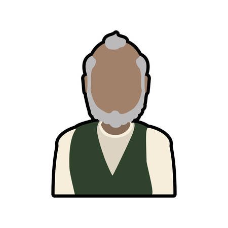 Grandfather male man hair grey icon. Isolated and flat illustration. Vector graphic Illustration