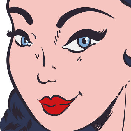 perfect face: Woman pop art female avatar person retro vintage icon. Colorfull and flat illustration. Vector graphic