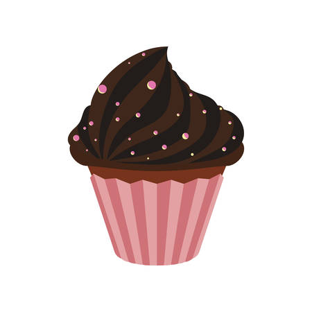 chocolate truffle: chocolate muffin cupcake sweet dessert delicious icon. Isolated and flat illustration. Vector graphic