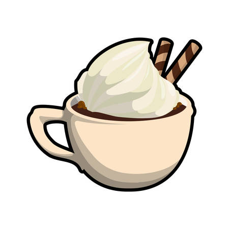 chocolate drink: chocolate drink mug sweet delicious icon. Isolated and flat illustration. Vector graphic