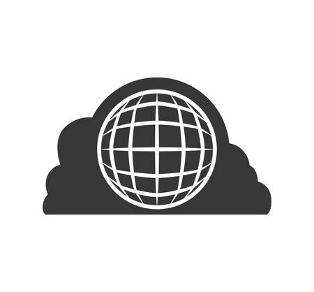 media network: cloud computing web global communication technology icon. Isolated and flat illustration. Vector graphic Illustration