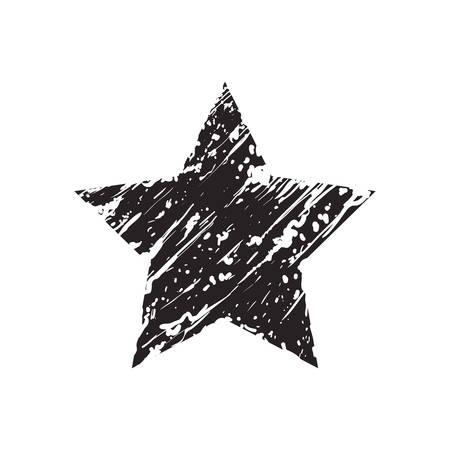 star shape black gunge decoration style icon. Isolated and flat illustration. Vector graphic