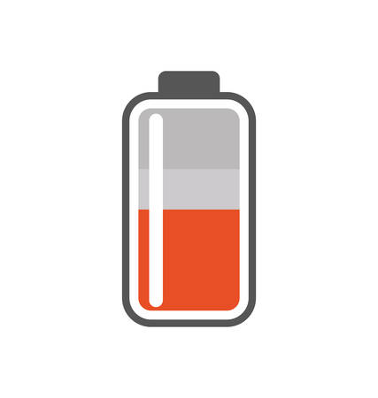alkaline: Battery orange energy power charge icon. Isolated and flat illustration. Vector graphic