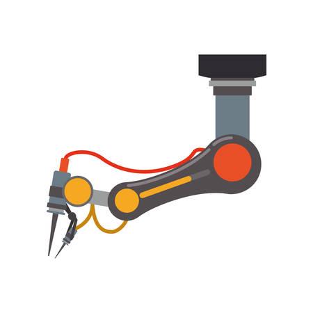 brazo de robot de metal icono de la tecnología androide. ilustración y plana. gráfico vectorial