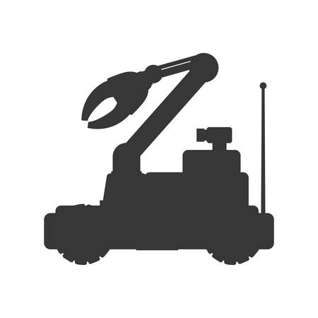 cybernetics: arm car robot technology android metal  icon. Isolated and flat illustration. Vector graphic