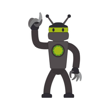 android robot: robot cartoon technology android metal  icon. Isolated and flat illustration. Vector graphic