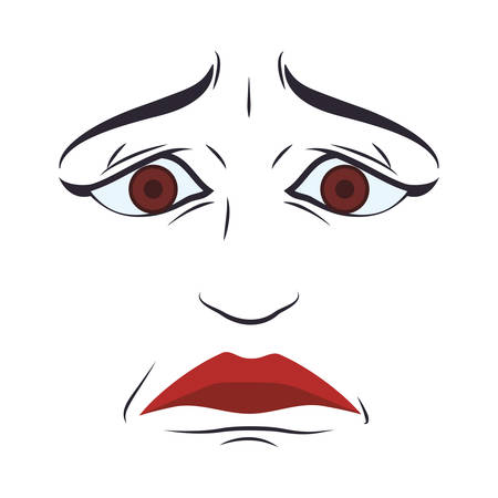 face sad eyes expression cartoon icon. Isolated and flat illustration. Vector graphic Illustration