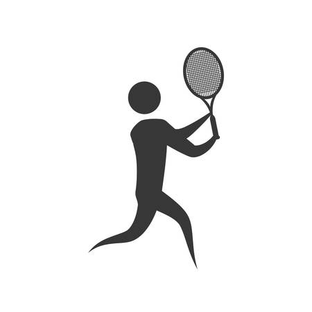 activity exercising: pictogram tennis action move sport fitness icon. Isolated and flat illustration. Vector graphic