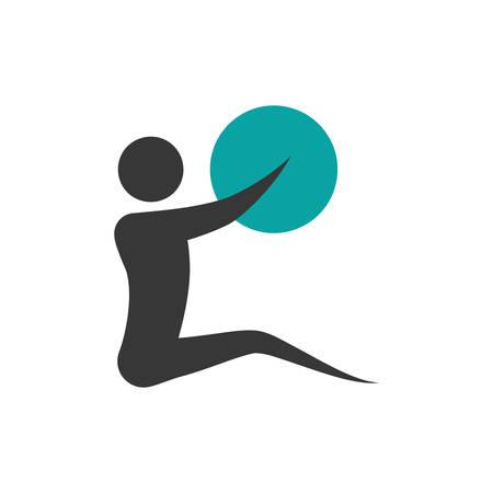 ricreazione: pittogramma azione palla icona mossa idoneità sportiva. Isolata e piatta illustrazione. grafica vettoriale