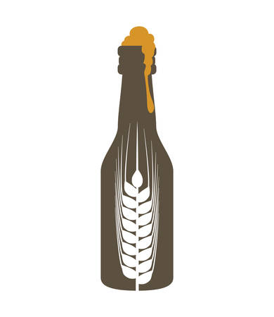 fresh brewed: bottle beer drink beverage alcohol icon. Isolated and flat illustration. Vector graphic Illustration
