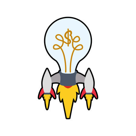 light bulb rocket start up innovation icon. Isolated and flat illustration. Vector graphic Illustration