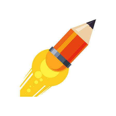 light bulb pencil rocket start up innovation icon. Isolated and flat illustration. Vector graphic