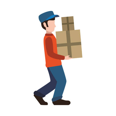delivery man male box package shipping logistic security icon. Isolated and flat illustration. Vector graphic