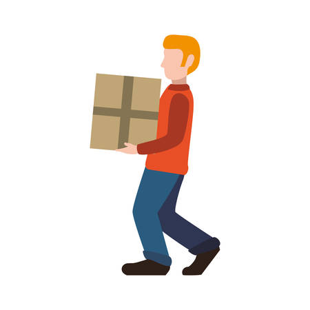 post man: delivery man male box package shipping logistic security icon. Isolated and flat illustration. Vector graphic