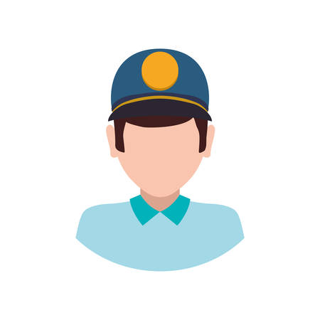 post man: delivery man hat shipping logistic security icon. Isolated and flat illustration. Vector graphic