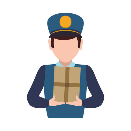 postman delivery shipping logistic security icon. Isolated and flat illustration. Vector graphic Illustration