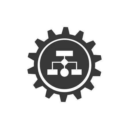 conceptual map: infographic gear conceptual map data information icon. Isolated and flat illustration. Vector graphic Vectores