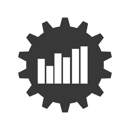 demographics: bars gear infographic data icon. Isolated and flat illustration. Vector graphic