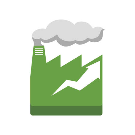 infomation: factroy industry arrow green plant icon. Isolated and flat illustration. Vector graphic