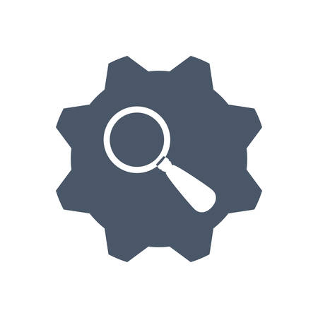 magnifying glass icon: lupe gear search magnifying glass icon. Isolated and flat illustration. Vector graphic