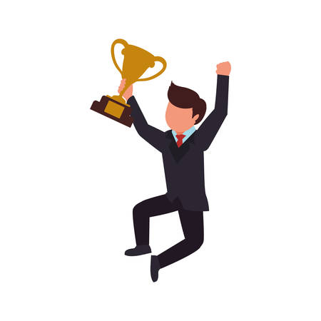 trophy winner man male human competition icon. Isolated and flat illustration. Vector graphic