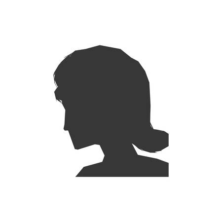 cabeza de mujer: Woman head silhouette female avatar person people icon. Isolated and flat illustration. Vector graphic