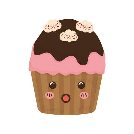 cupcake dessert cute sweet icon. Isolated and flat illustration. Vector graphic