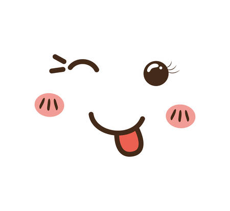 mouth smile: kawaii cartoon face expression smile icon. Isolated and flat illustration. Vector graphic Illustration
