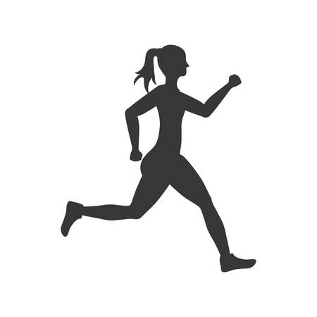 sport woman running fitness icon. Isolated and flat illustration. Vector graphic