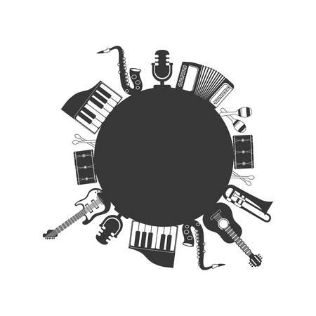 maraca: guitar trumpet piano saxophone maraca drum instrument music sound icon. Isolated and flat illustration. Vector graphic