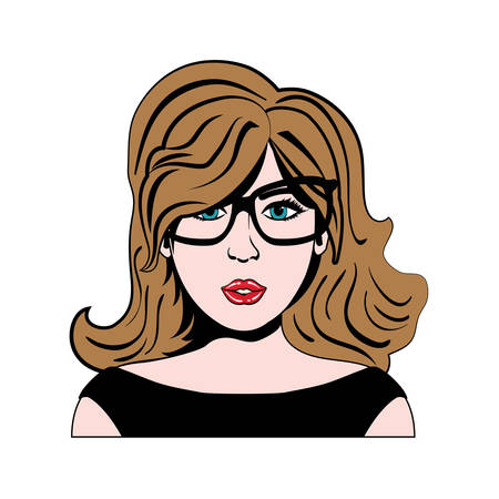 retro hair: woman girl retro hair pop art icon. Isolated and flat illustration. Vector graphic