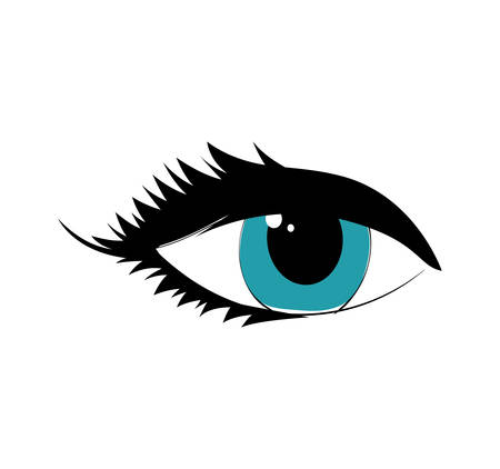 blue eye: female blue eye look icon. Isolated and flat illustration. Vector graphic