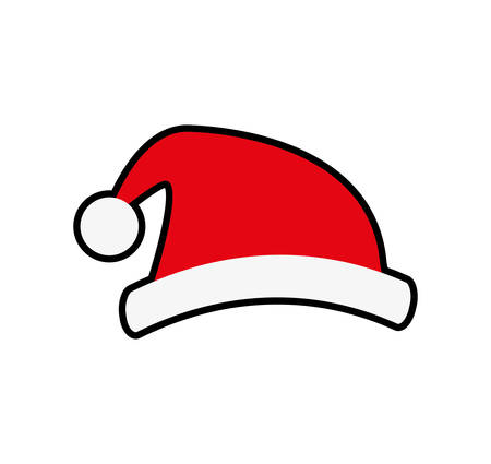 santa hat merry christmas cartoon celebration icon. Isolated and flat illustration. Vector graphic
