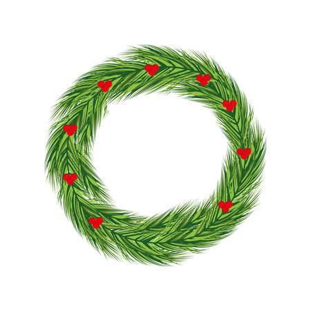 tree crown: leaf fruit pine tree crown merry christmas celebration icon. Isolated and flat illustration. Vector graphic