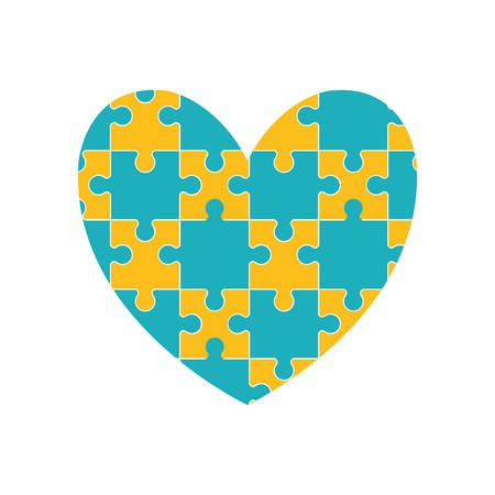 heart puzzle: puzzle heart jigsaw game figure icon. Isolated and flat illustration. Vector graphic