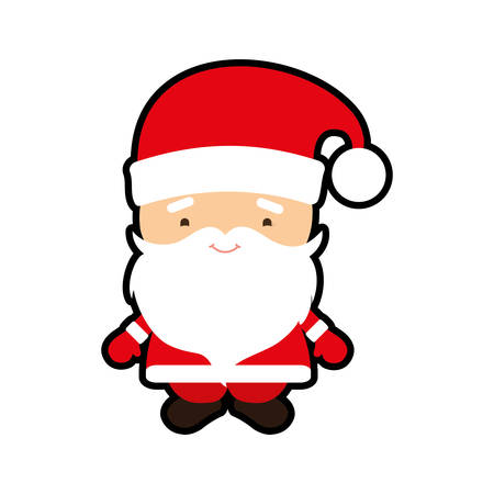 santa cartoon merry christmas celebration icon. Isolated and flat illustration. Vector graphic