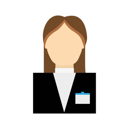 reservation: receptionist female suit hotel service icon. Isolated and flat illustration. Vector graphic