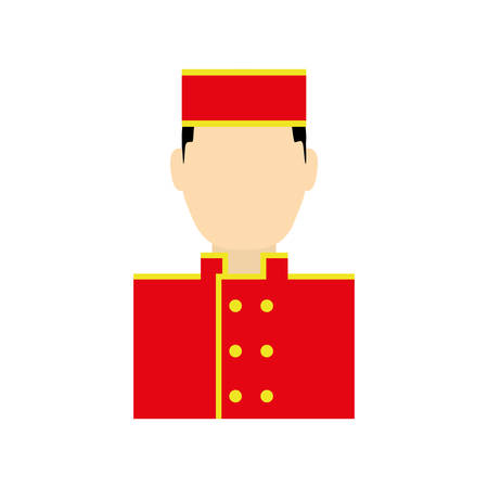 bellboy: bellboy male hat hotel service icon. Isolated and flat illustration. Vector graphic