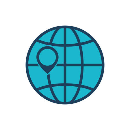 planet sphere earth global icon. Isolated and flat illustration. Vector graphic