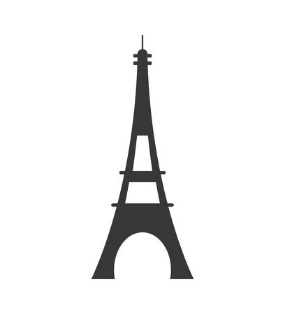 french culture: eiffel tower paris france silhouette icon. Isolated and flat illustration. Vector graphic